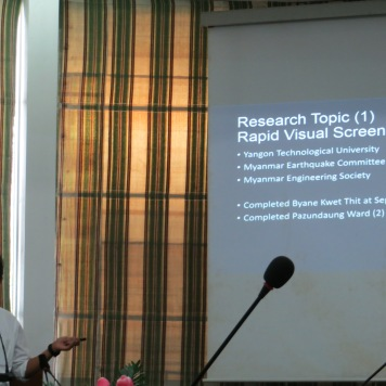 Mr. Wai Yar Aung, a member of MEC, explaining the urban seismic assessment conducted in the two pilot wards